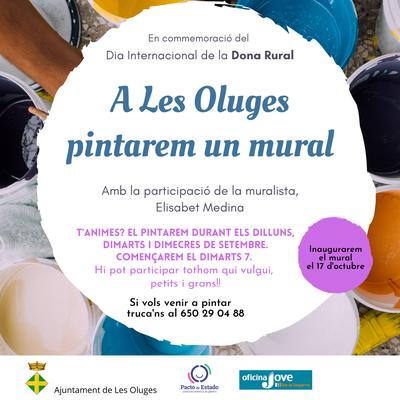 A Les Oluges pintarem un mural, en commemoració del Dia Internacional de la Dona Rural 🖌️😃 vols participar?