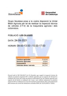 La Unitat Mòbil Agrícola realitzarà la inspecció tècnica de vehicles (ITV) a Les Oluges el 24 de setembre.