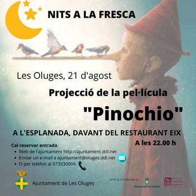 """Les Oluges projectarà """"Nits a la fresca🌙"""" amb la projecció de la pel·lícula """"Pinochio"""", el 21 d'agost."""