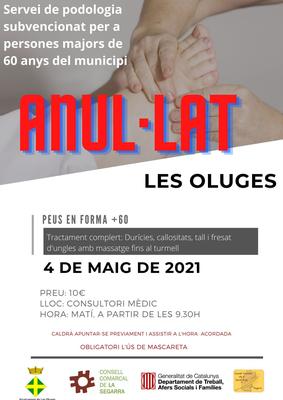 Servei de podologia per a majors de 60 anys al municipi de Les Oluges