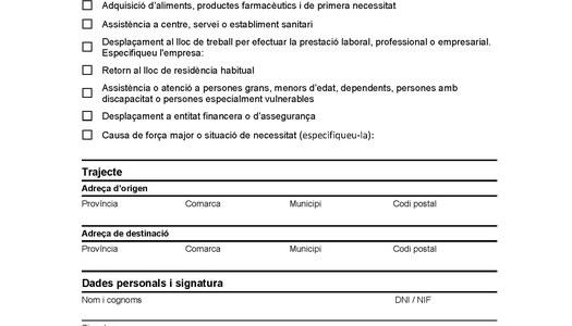 Certificat d'auto desplaçament Covid-19