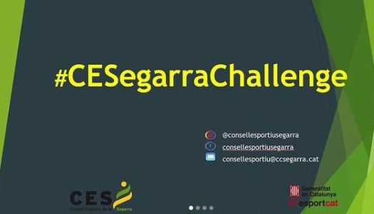 Tenim el plaer de presentar-vos el #CESegarraChallenge una iniciativa promoguda pel Consell Esportiu de la Segarra on cada setmana us proposarem un repte motriu/esportiu que podreu realitzar a casa o a l'escola, amb la vostra família o grup bombolla!!!